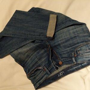 LOFT 25/2P Petite Relaxed Skinny Denim Blue Jeans